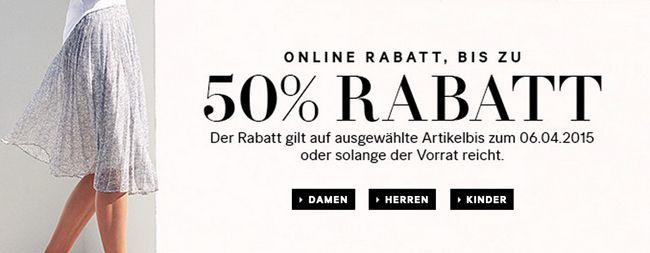 Bis zu 50% Rabatt auf ausgewählte Artikel bei H&M + kostenloser Versand