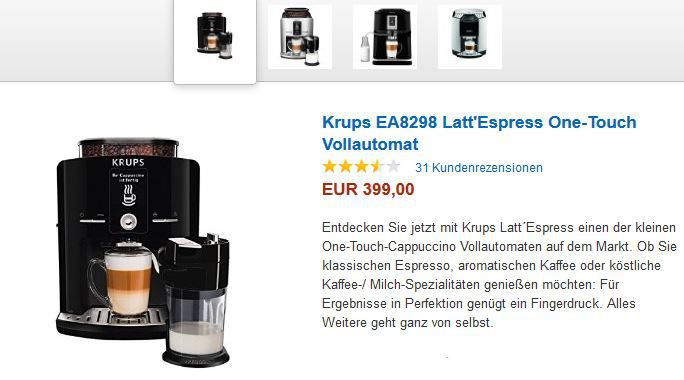 KRUPS 100 EUR Sofortrabatt Aktion Dolce Gusto, Tassimo, TCHIBO CAFISSIMO und KRUPS Kaffee Maschinen   Rabatt und Cashbackaktionen @ Amazon