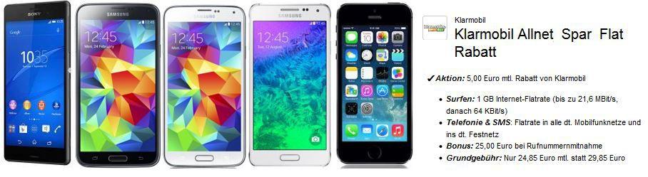 Klarmobil D2 AllNet Spar Flat inkl. Telefonie + 1 GB Daten Flat + SMS Flat + Samsung S5 für 25,31€ mtl.