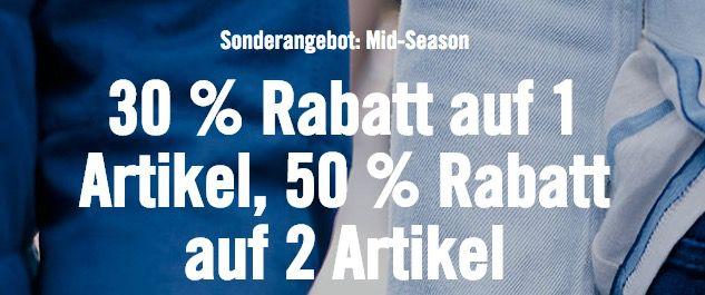 Levis:  30% Rabatt auf 1 Artikel, 50% Rabatt auf 2 Artikel + kostenloser Versand ab 50€