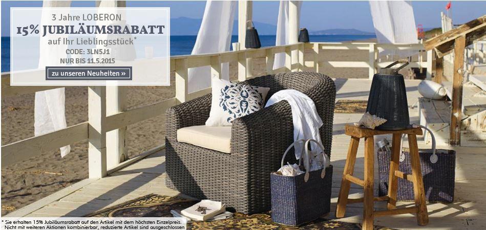 LOBERON   Möbel und Wohnaccessoires mit 15% Rabatt auf einen Artikel