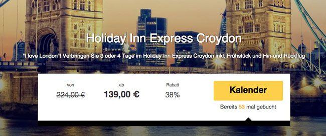 3 Tage London im 3 Sterne Holiday Inn Express Croydon + Frühstück + Flüge ab 139€ p.P.