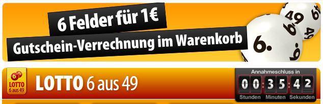 Lotto Gutschein Tipp24 für Neukunden:  6 Felder Lotto 6 aus 49 zum Preis von nur 1€   Jackpot 17 Millionen €