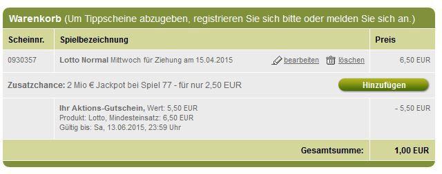 Lotto Gutscheine Tipp24 für Neukunden:  6 Felder Lotto 6 aus 49 zum Preis von nur 1€   Jackpot 17 Millionen €