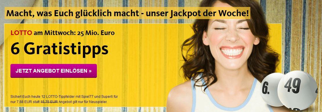 Lottoland: Gratis Tippfeld für 6 aus 49 für Neukunden (Jackpot: 25.000.000€)