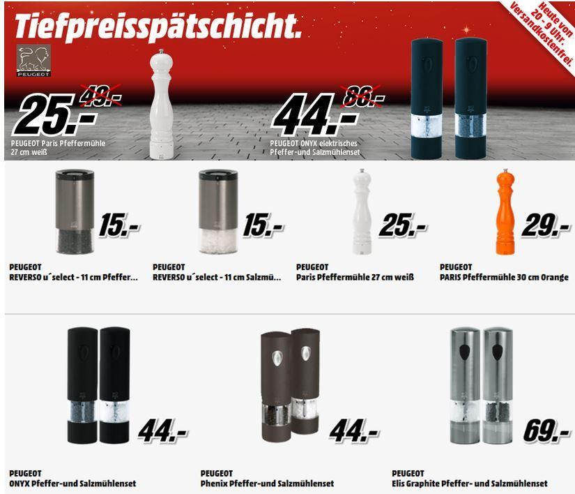 Media Markt Angebote Peugeot Reverso 11cm Salz  oder Pfeffermühlen ab 15€ in der MediaMarkt Tiefpreisspätschicht