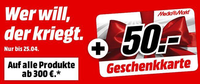 Media Markt Geschenkkarte 50€ Geschenkkarte ab 300€ Einkaufswert bei Media Markt   online und offline!