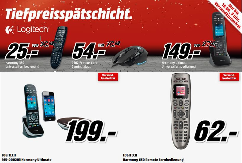 Logitech Harmony Ultimate statt 199€ für 149€ in der MediaMarkt Tiefpreisspätschicht