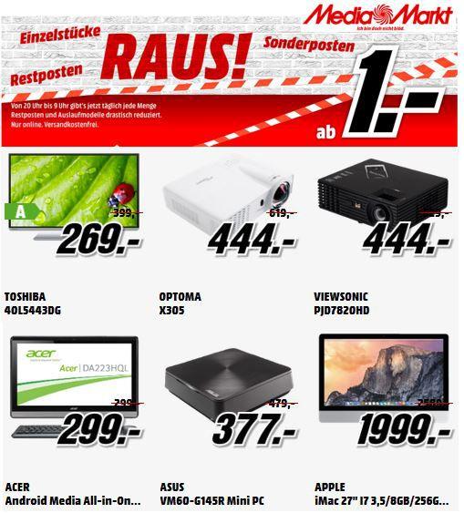 MediaMarkt Resterampe Toshiba 40L5443DG   40Zoll TV für 269€ bei der Einzelstücke und Restposten Aktion beim MediaMarkt   Update