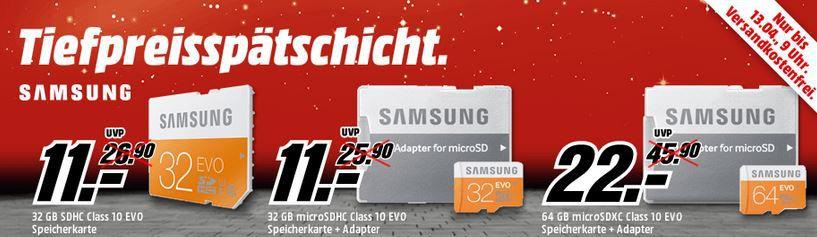 MediaMarkt Speicher karten SAMSUNG 32 GB SDHC für nur 11€ in der MediaMarkt SAMSUNG Speicher Tiefpreisspätschicht   Update