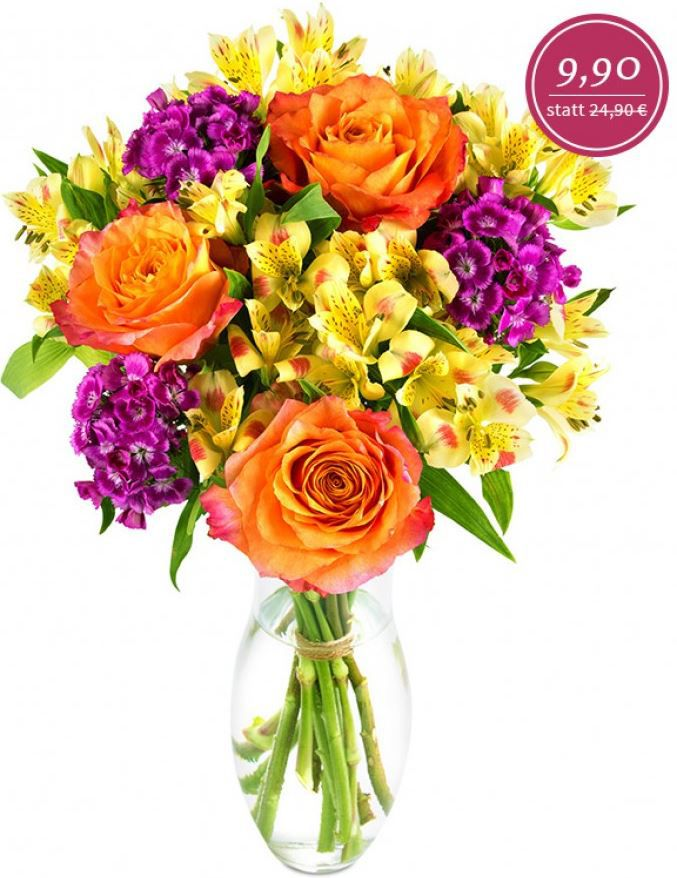 """Miflora Lucia Blumenarrangement """"Lucia"""" mit orangefarbigen Rosen für 15,80€   Update!"""