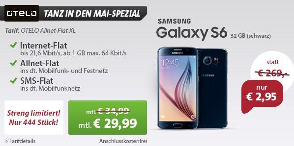 OTELO Allnet Flat XL Samsung Galaxy S6 32GB + OTELO Allnet Flat XL mit 1GB im Vodafone Netz für 30,20€/mtl.   Update