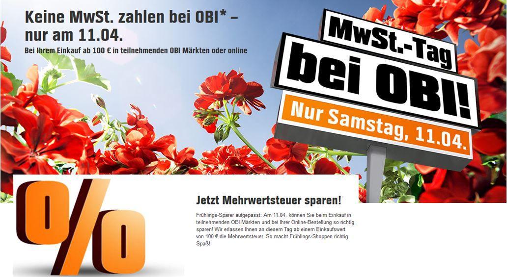 Obi Obi mit 19% Rabatt ab 100€   nur heute Offline und Online   Update