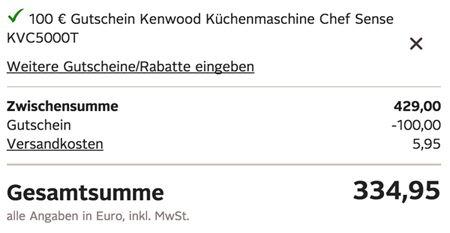 Kenwood KVC 5000T Chef Sense Küchenmaschine für 334,95€