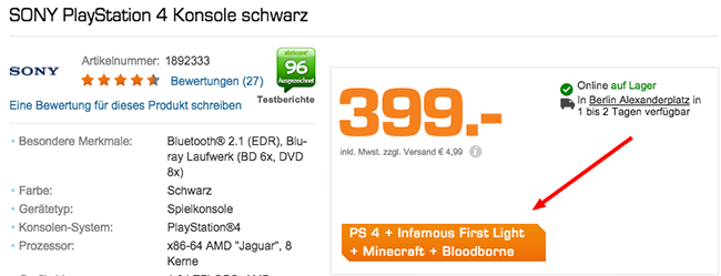 Playstation 4 + Infamous First Light + Minecraft + Bloodborne ab 399€