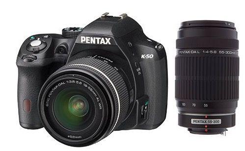 Pentax K 50 Pentax K 50 SLR Digitalkamera + DA L 18 55mm WR Objektiv + HDDA 55 300mm Objektiv für 515,95€