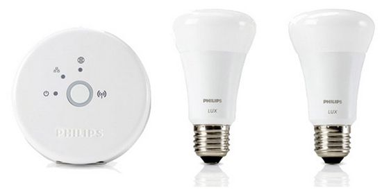 Philips Hue   Starter Kit mit 2 LED Lampen E27 9W + Bridge ab 46,89€