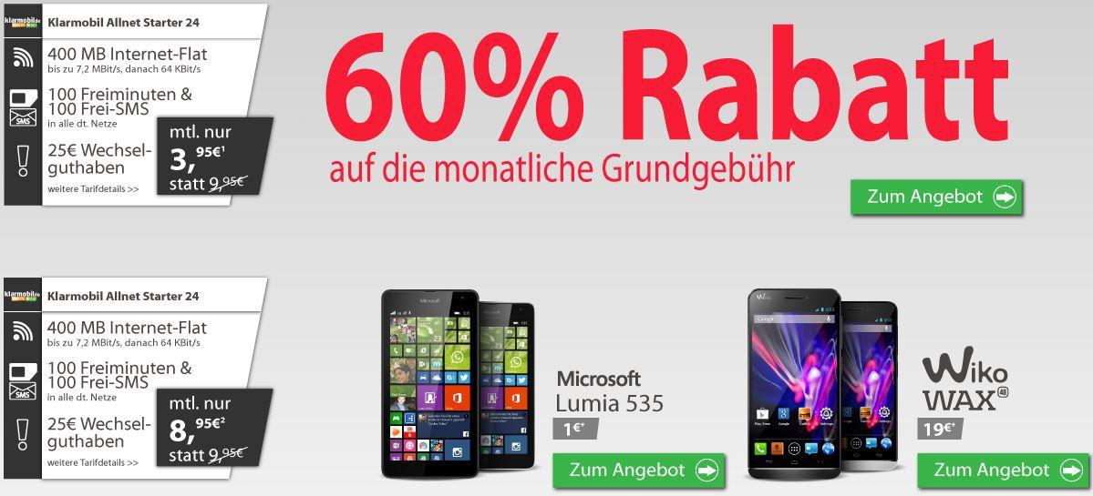 Klarmobil AllNet Starter24: 100 Minuten + 100 SMS + 400MB Daten für nur 3,95€ oder mit Phone 8,95€   Update!