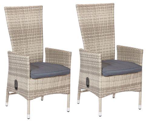 2er Set Polyrattan Sessel mit stufenlos verstellbarer Lehne für 125,99€
