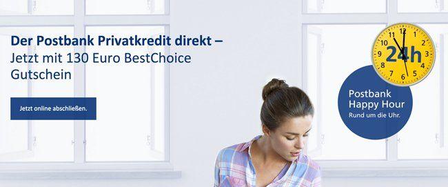 Postbank Privatkredit mit 130€ Gutscheinprämie   bestenfalls über 50€ Gewinn möglich   Update!