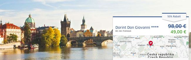 3 Tage Prag im 4 Sterne Dorint Hotel + Frühstück + Zugticket ab 87€ p.P.