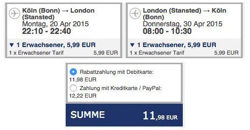 Flug nach London ab 5,99€   Rückflug ebenfalls ab 5,99€   Abflughafen Köln, Frankfurt Hahn, Memmingen oder Bremen