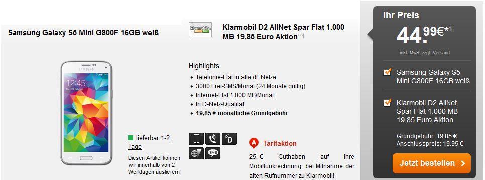 Klarmobil D2 AllNet Spar Flat inkl. Telefonie + 1 GB Daten Flat + 3.000 SMS + Samsung S5 mini für 22,79€ mtl.