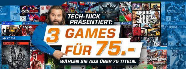 Saturn 3 Games 3 Games für 75€ bei Amazon und Saturn   über 75 Spiele verfügbar