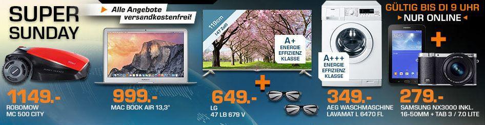 SAMSUNG NX 3000 +16 50mm Kamera + Samsung TAB 3 7Lite für 274€ und mehr Saturn Super Sunday Angebote