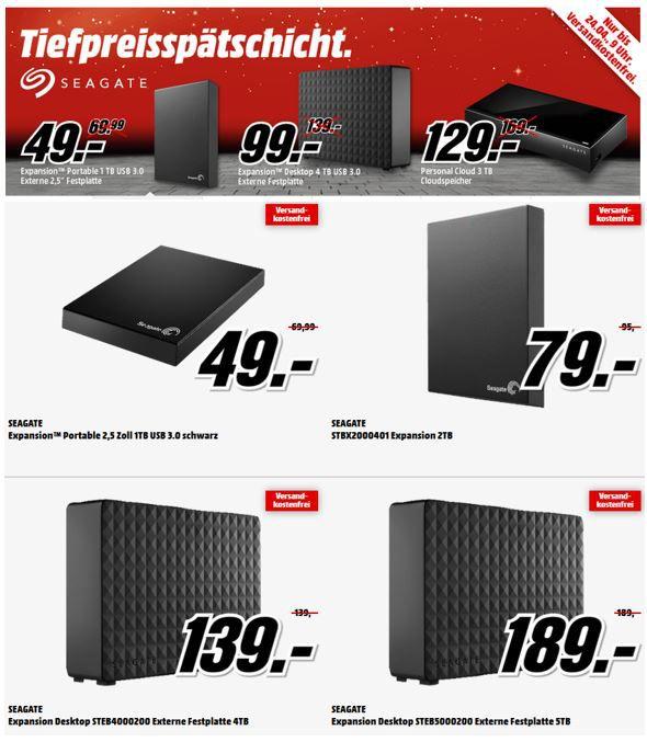 Seagate günstige Festplatten SEAGATE STEB4000200   4TB externe Festplatte für 99€ in der MediaMarkt Seagate Tiefpreisspätschicht
