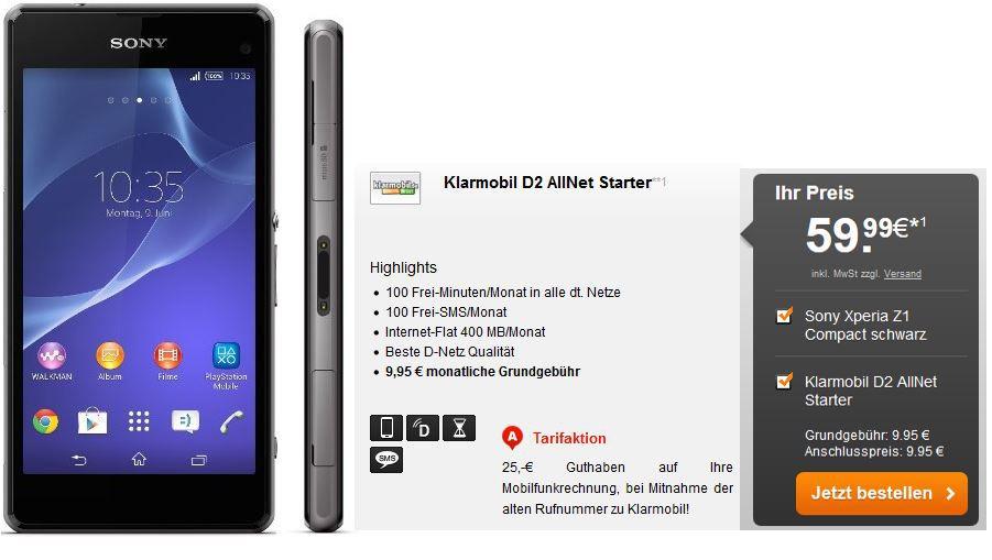 Sony Xperia Z1 Sony Xperia Z1 + D2 Klarmobil: 100 Minuten AllNet + 100SMS + 400MB Daten für 12,86€ mtl.