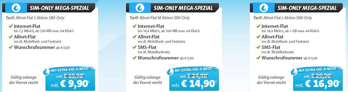 Sparhandy Telekom Allnet Flat mit 250MB für 9,90€ + mit 500MB inkl. SMS Flat für 14,90€ + mit 1GB inkl. SMS Flat für 16,90€   Update