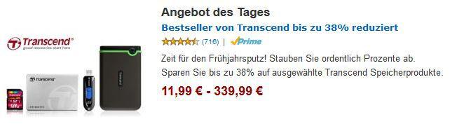 Transcend StoreJet M3   2TB ext. Festplatte für 94,99€   SSD, USB, Speicher Karten bis zu 38% Rabatt bei Amazon