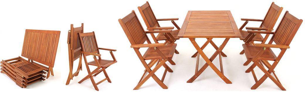SYDNEY   Garten Sitzgruppe Akazienholz Tisch mit 4 Stühlen für 139,95€