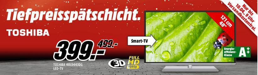 Toshiba 48L5443DG   48 Zoll 3D Wlan Smart TV für nur 399€ in der MediaMarkt Tiefpreisspätschicht