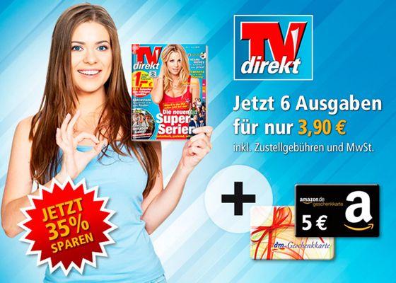 TVdirekt 6 Ausgaben TVdirekt mit effektiv 1,10€ Gewinn dank 5€ Gutscheinprämie