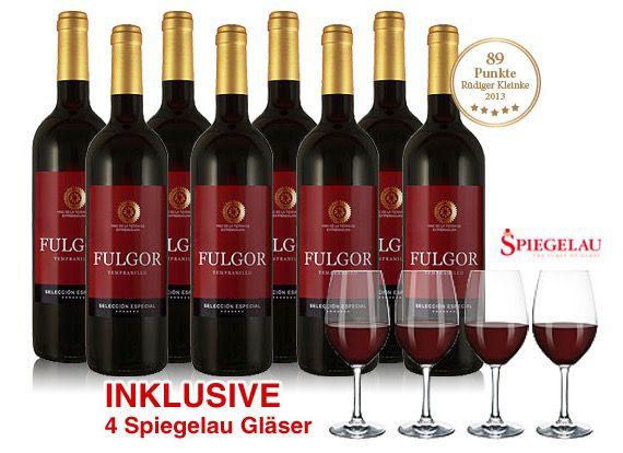 8 Flaschen Tempranillo Fulgor Rotwein + 4 Gläser für 39,90€