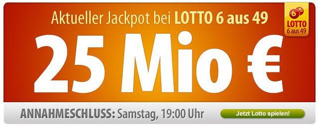 Tipp24 für Neukunden: 7 Felder Lotto 6 aus 49 zum Preis von nur 1,50€   Jackpot 25.000.000€