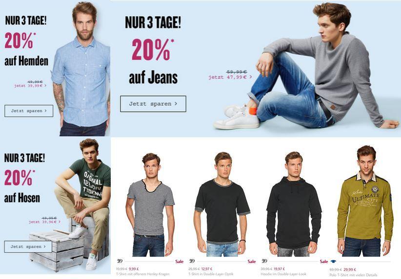 Tom Tailor mit 20% Extra Rabatt auf: Jeans, Hemden und Hosen   nur bis Sonntag