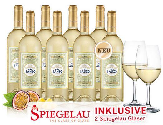 8 Flaschen Vina Sanzo Clasico Weißwein + 2 Gläser für 39,90€