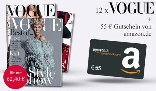 Vogue Jahresabo 12 Ausgaben Vogue für effektiv 7,40€ dank 55€ Amazon Gutschein