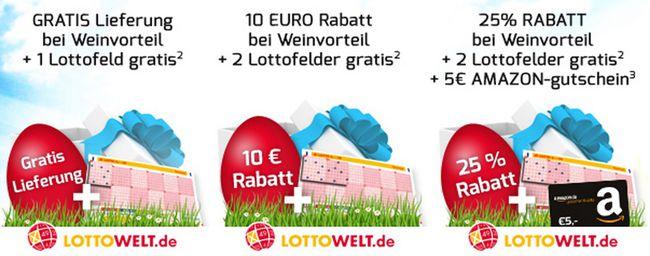 Oster Geschenke bei Weinvorteil   z.B. 10€ Rabatt + 2 kostenlose Lottofelder ab 12 Flaschen