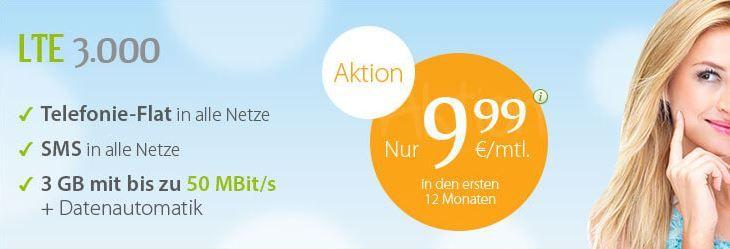 WinSim LTE winSIM O2 Allnet + SMS Flat mit 3GB Daten (LTE 50MBit/s) für 18,74€ mtl.