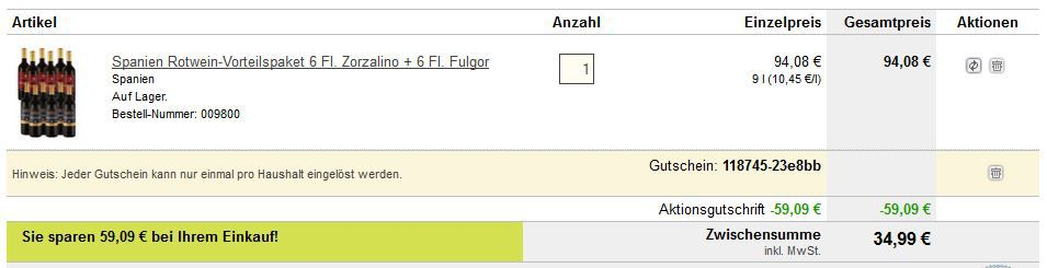 Top! 6 Fl Zorzalino Tempranillo Edición Limitada 2013 +  6 Fl. Fulgor Selección Especial 2013 für nur 34,99€   Update!