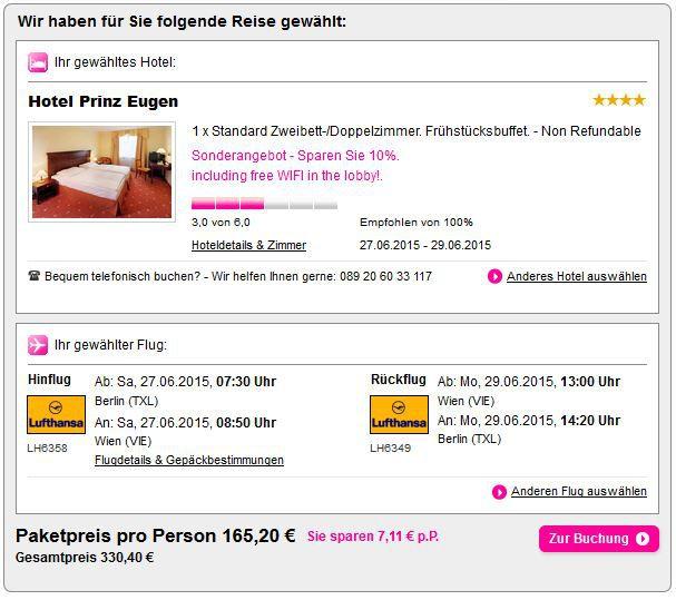 guenstig nach Wien fliegen 3 Tage Wien im sehr guten 4* Hotel Prinz Eugen ab 166 Euro inkl. Flug und Frühstück