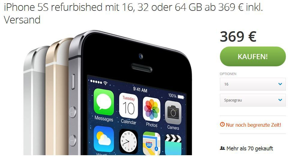 iPhone Angebot Apple iPhone 5S   mit 16, 32 oder 64GB als B Ware ab 369€   Update!