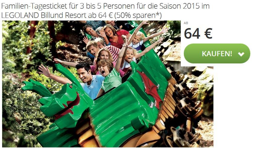 legoland Billund LEGOLAND Billund Resort   Familien Tagesticket für 3 Personen ab 64€