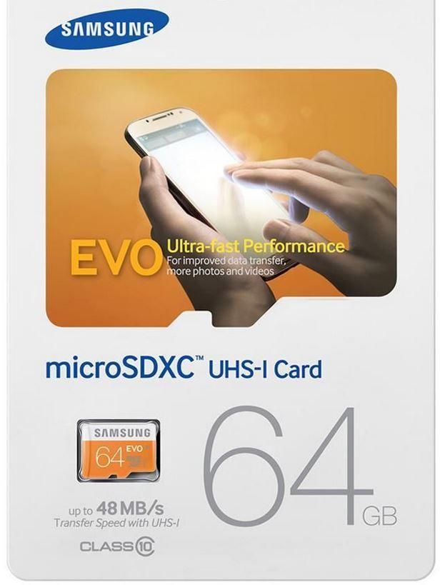 Samsung EVO MB MP64   64 GB Micro SD Karte mit Class10 ab15,99€