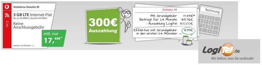 3GB LTE (50,0 MBit/s) Vodafone DataGo M Vertrag dank 300€ Auszahlung für effektiv 4,99€/mtl.   Update