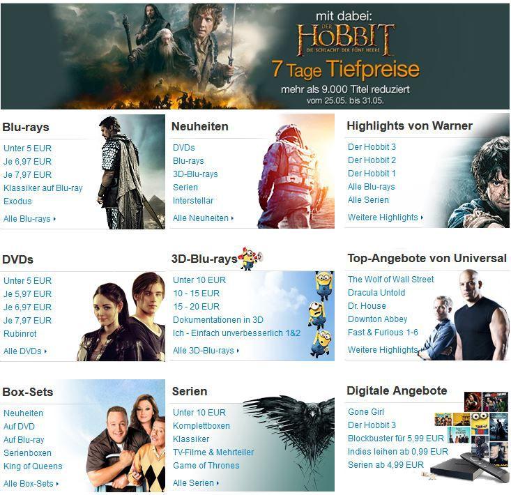 Amazon 7 Tage Tiefpreise mit über 9.000 Filmen und Serien   z.B. günstige BOX Sets   Update!